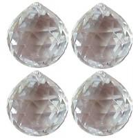 Boule 40 mm a facettes en cristal, set de 4 cristaux