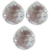 Boule 50 mm a facettes en cristal, set de 3 cristaux