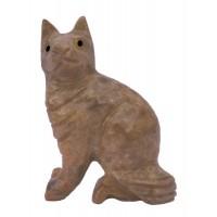 Chat, statuette en pierre