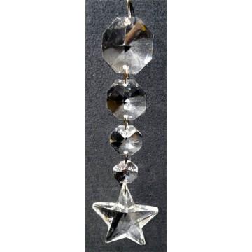 Pendentif Octogones plus étoile à facettes en cristal