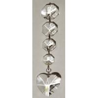 Pendentif cristal a facettes octogones et coeur