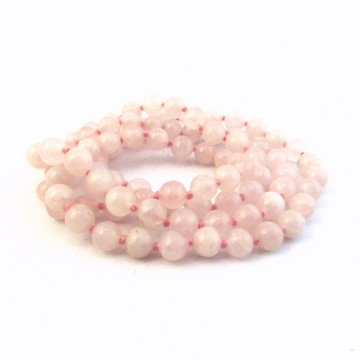 Collier Quartz rose 6 mm