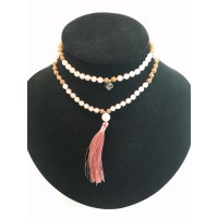 Collier Mala Quartz Rose